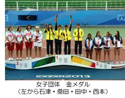 女子団体 金メダル(左から石津・桑田・田中・西本)