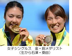 女子シングルス 金・銅メダリスト(左から石津・桑田)
