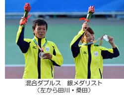 混合ダブルス 銀メダリスト(左から田川・桑田)