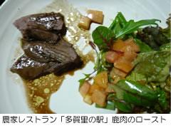 農家レストラン「多賀里の駅」の鹿肉のロースト